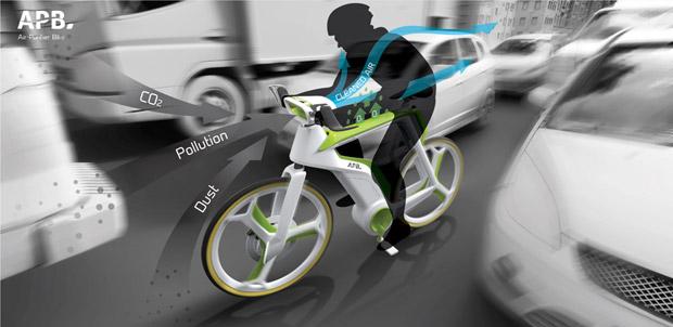 Le vélo imaginé par le studio Lightfog aspire le CO2 et les particules fines pour les transformer en oxygène. Crédit : Lightfog