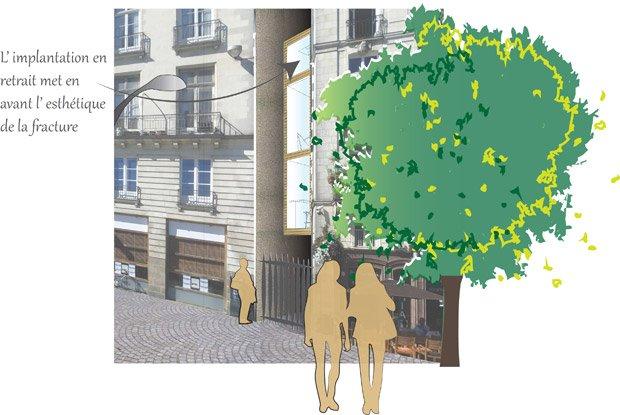 Le projet Micr'Home de Myrtille Drouet s'insère dans un interstice d'1,96 mètres de large en proposant un triplex