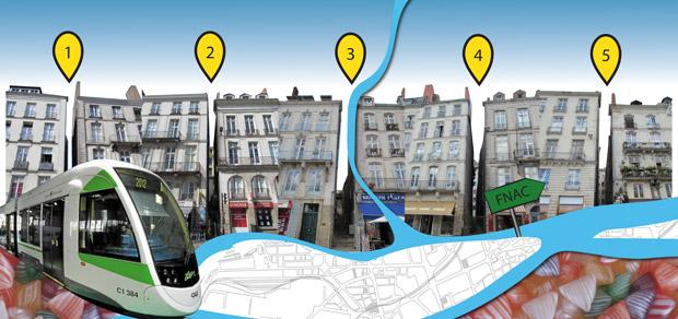 A Nantes, 5 interstices viennent perturber le rythme des façades du Quai de la Fosse