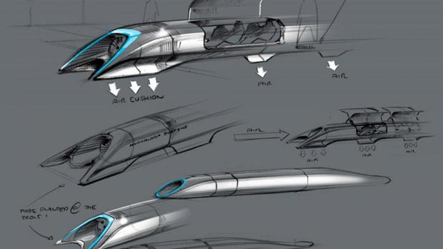 L'Hyperloop, capable d'atteindre l'allure de 1 220 km/h. Crédits : HANDOUT / TESLA MOTORS / AFP