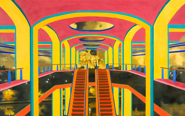 """Chris Hagerty, """"Atlantic Center Mall & Baghdad"""", 2008, huile sur toile 48"""" x 30"""""""