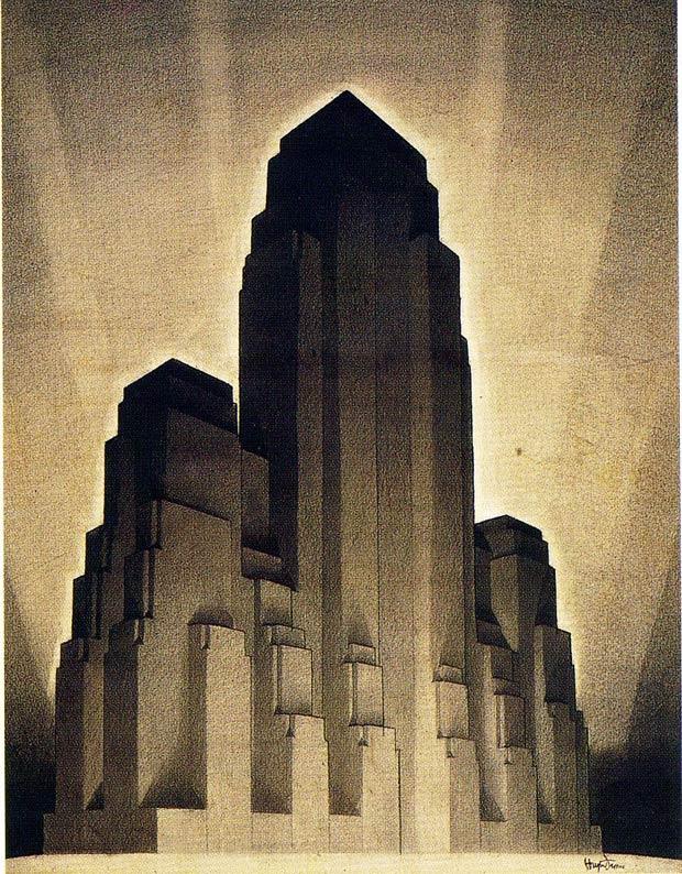 L'art du clair-obscur selon Hugh Ferriss. Dessin extrait de la série The City of Tomorrow (1929)