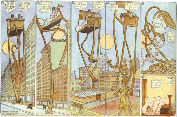 Le lit de Nemo part en balade dans la ville. Dessin extrait d'un épisode de Little Nemo in Slumberland paru en 1908.