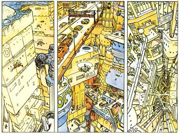Case extraite de la BD The Long Tomorrow, de Dan O'Bannon et Moëbius.