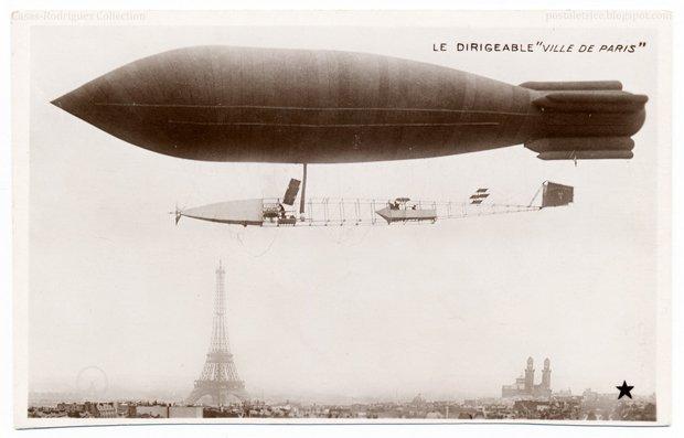 """Le dirigeable """"Ville de Paris"""". Vintage real photo postcard, 1906 or 1907, uncirculated, divided back, published by Etoile, Paris. Source : compte Flickr de The Casas-Rodríguez Postcard Collection"""