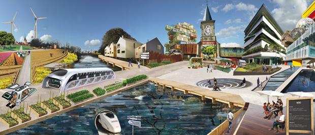 Visuel : Photomontage 13 avril FINAL ; Légende : Eco-tissage urbain - Clémence Brisard, Etienne Coutable, Iris Devais, Agathe Drouin et Léa Pelotte