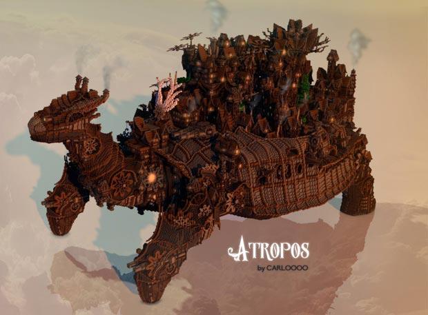 La cité d'Atropos et son architecture d'inspiration steampunk. Copyright : Carlooo