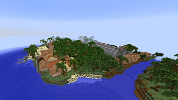 La baie de Les Cayes (Haïti) reconstituée façon Minecraft. Copyright : Block by Block / UN Habitat / Mashable.com