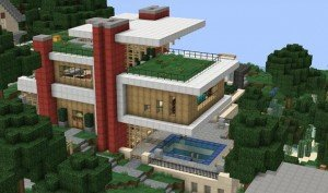 La Modern Hillside House, une villa Minecraft nichée au cœur de la montagne. Copyright : Minecraft.gallery