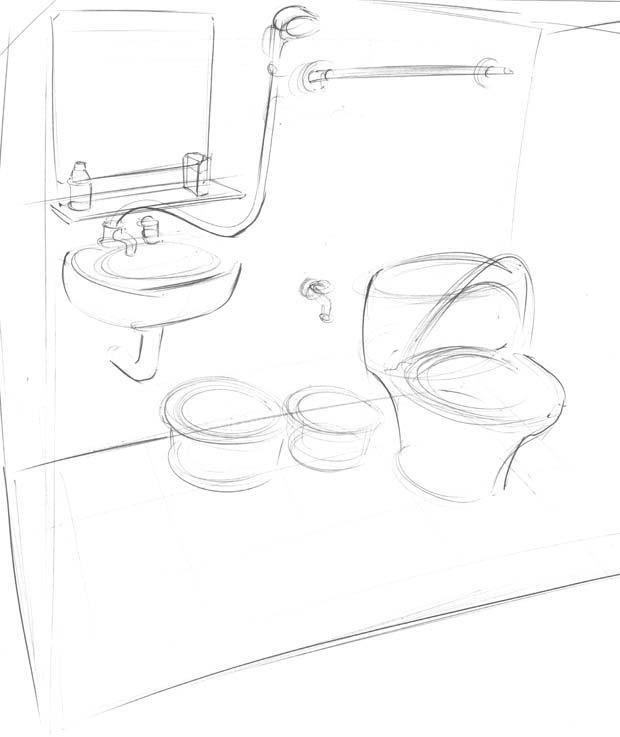 Exemple typique d'une salle de bain à Hanoi. Crédits : Clément Pairot