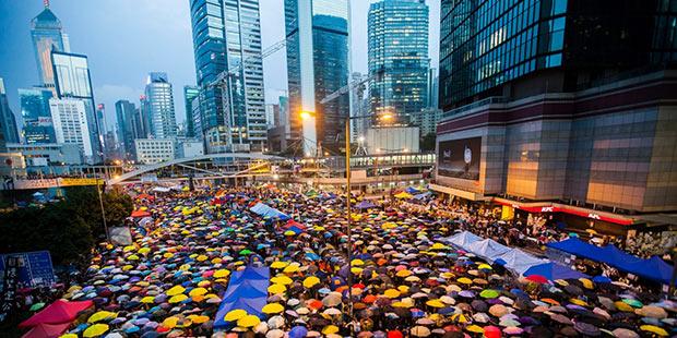 Manifestation parapluie - Hong Kong ; Copyright : Alex Hofford/EPA