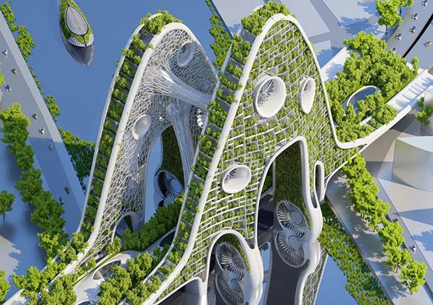 Pont Aval - Paris. Architecte : Vincent Callebaut ; Copyright : Vincent Callebaut Architectures