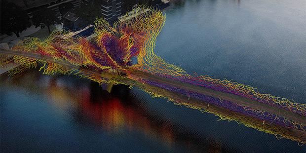 L'un des ponts futuristes imaginés pour la ville de Londres ; Copyright :Nine Elms to Pimlico Bridge Competition Wandsworth Council