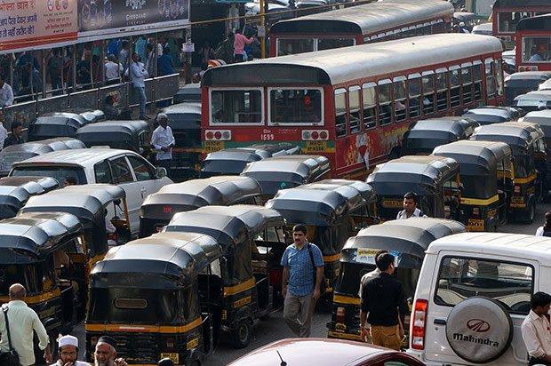 Rickshaw congestion - Mumbai. Crédits : Clément Pairot