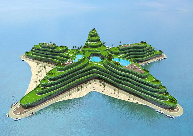 Architecture bleue. Copyright : Waterstudio