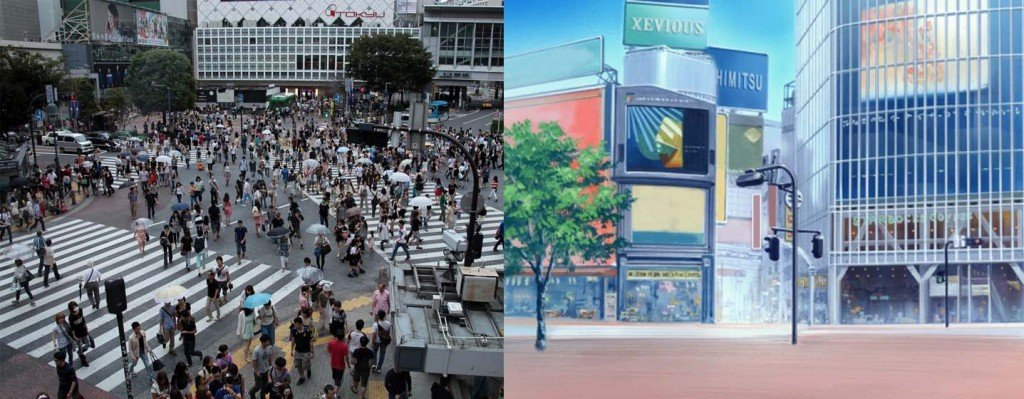 Le carrefour de Shibuya. A gauche : dans la réalité - à droite : dans l'anime iDOLM@STER Cinderella Girl