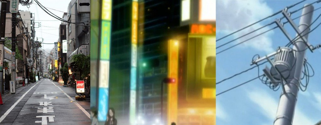 Enchevêtrement de poteaux électriques, câbles et néons. De gauche à droite : réalité - dans l'anime Nana - dans l'anime Fruits Basket