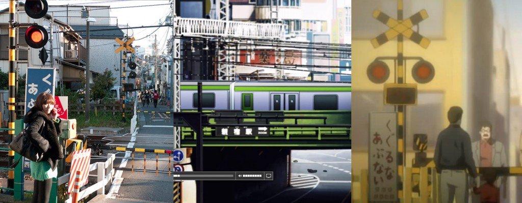 Infrastructures de transport. De gauche à droite : dans la réalité - dans l'anime Terror in resonance - dans l'anime Death Note