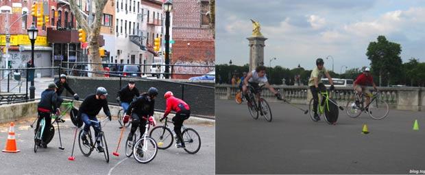 Scènes de bike-polo à New York et Paris
