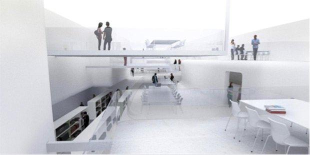 Projet de bibliothèque à Nancy. La construction d'alcôves spatiales et de replis dans les parois permet au courant d'air, qui se comporte comme rivière intérieure, d'atteindre les lecteurs tout en préservant les livres d'une exposition inutile. © Philippe Rahm