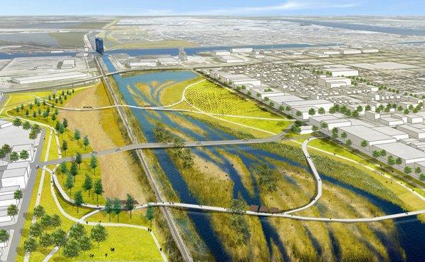 Visuel d'illustration du projet de parc humide central ©Waggonner & Ball Architectes
