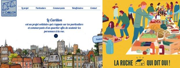 La startup Le Carillon lance une plateforme de mise en relation des commerçants du quartier. La Ruche qui dit oui est une AMAP constituant un circuit court entre producteurs et consommateurs.