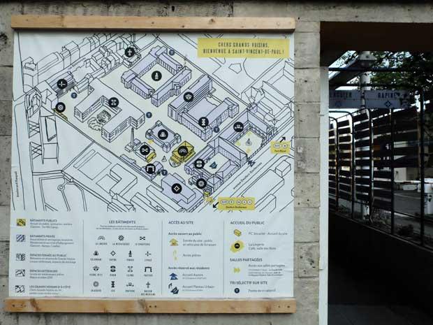 Le plan du site, affiché à l'entrée, informe de l'emplacement des espaces accessibles au public et réservés aux résidents. Le projet d'écoquartier prévoit de conserver un bon nombre des bâtiments de l'hôpital