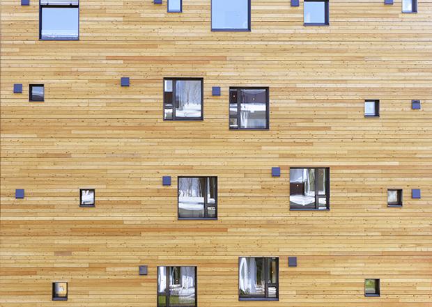 Facade en bois d un immeuble a haute performance energetique