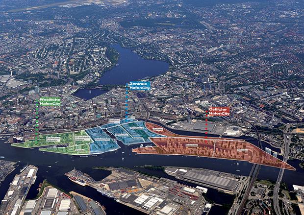 Vue aérienne de Hambourg et du site de HafenCity