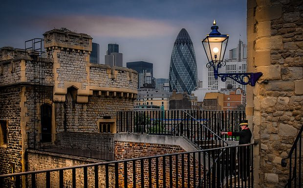 View of Tower and Financial District of London