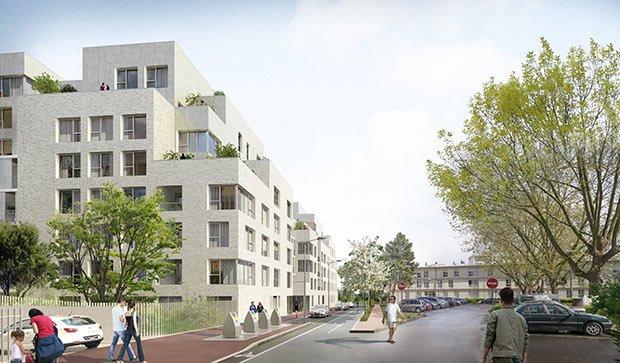 Vue de la voie nouvelle et des logements
