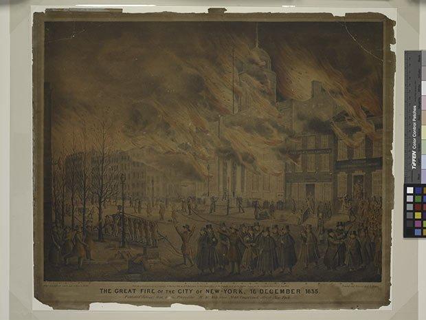 Illustration du Grand Incendie de 1835 au sud de Manhattan