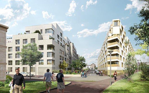 Vue des logements, de la résidence étudiante et de la voie nouvelle