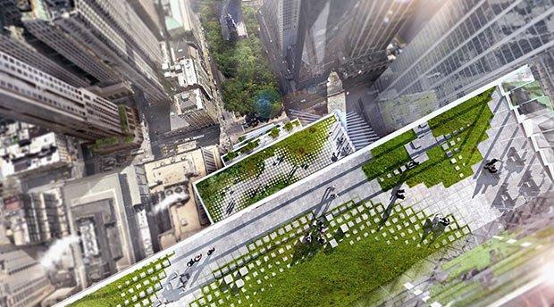 Vue depuis le sommet de Two World Center, projet de Bjarke Ingels
