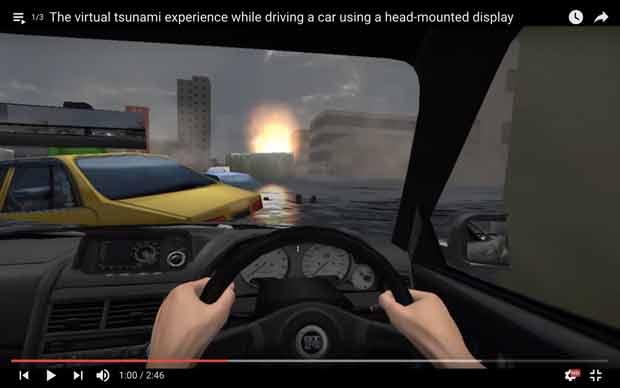 En réalité virtuelle, le Tsunami Simulator place le spectateur au cœur d'un tsunami semblable à celui qu'a subi le Japon en 2011.