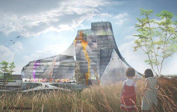 """Projet """"Yamakasi"""" à Stains : un mur d'escalade recouvre un bâtiment de bureaux"""