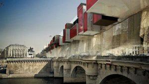 Des blocs modulables gris et rouge sur le Pont Neuf à Paris