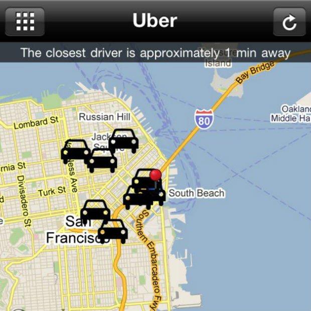 la carte des uber disponibles