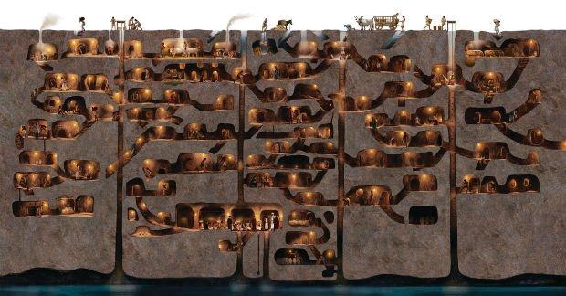 Le plan de la ville de Derinkuyu