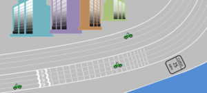 A mesure que les bandes se rapprochent et se succèdent l'automobiliste a le sentiment d'accélérer