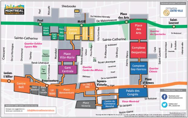 Plan de la ville souterraine de Montréal