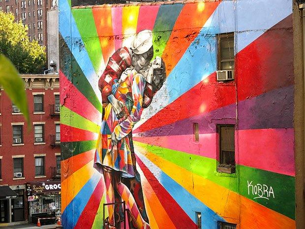 mur avec une fresque representant deux amoureux