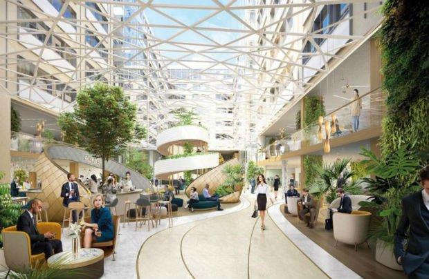 Le living square du projet SWAYS, un espace collaboratif unique sur deux niveaux