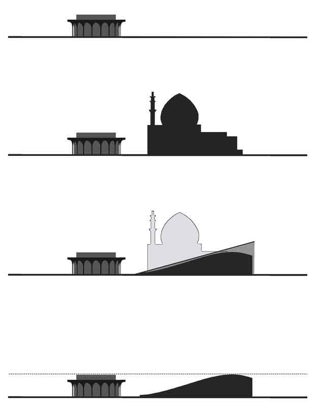 La précédente maquette de la nouvelle mosquée de Téhéran, plus classique, comportait un dôme et de hauts minarets