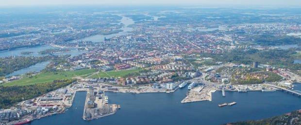 Photo aérienne du port actuel en pleine mutation