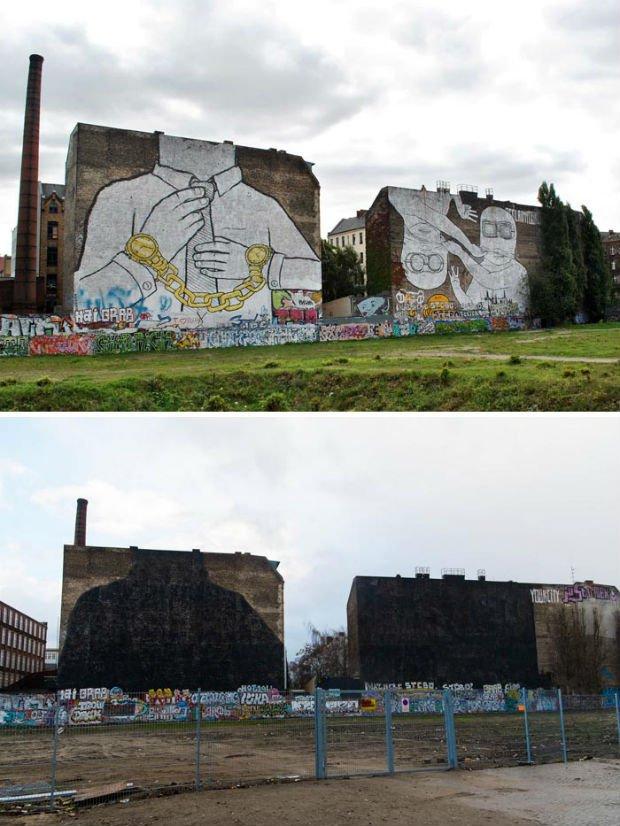 L'artiste Blu a effacé ses fresques à Berlin, un hara-kiri artistique pour éviter la privatisation de ses œuvres