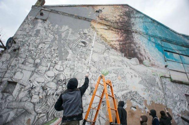 Blu repeint une de ses oeuvres à Bologne après qu'un musée est voulu la récupérer