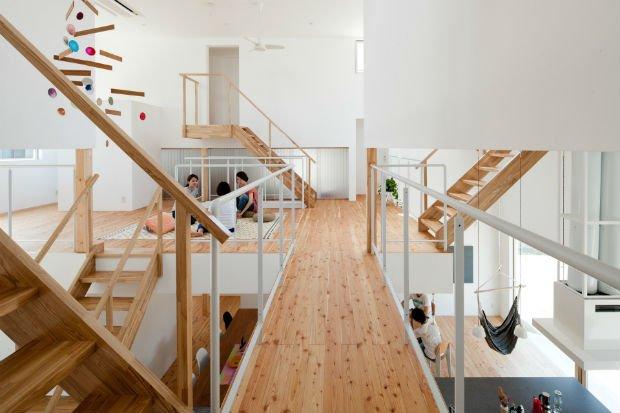 Parties communes de la maison partagée LT Josay à Nagoya, imaginée par Naruse Inokuma Architects