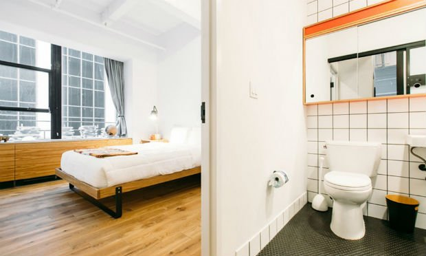 Chambre dans un des logements de WeLive à New York