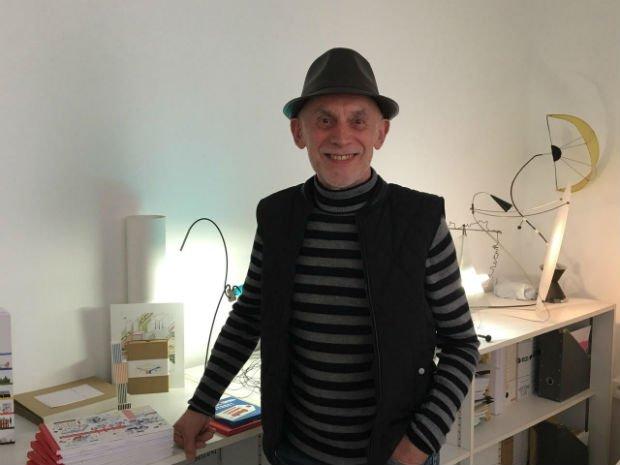 Didier Cornille dans son atelier à Belleville